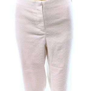 Snakeskin texture stretch white pants